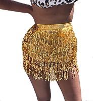 VRTUR Danseuse Orientale Femmes Paillette Costume GlandEmballage Jupe Club Mini-Jupe Court FêTe De Carnaval FêTe du Festival des Prairies