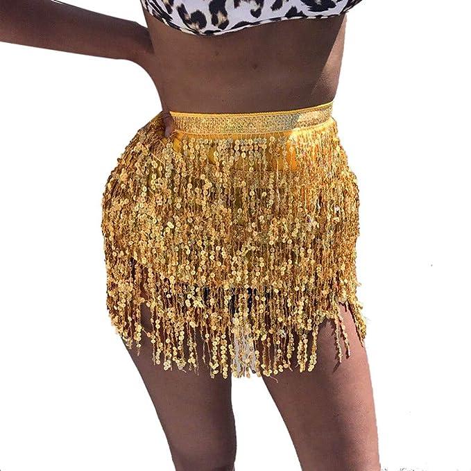 ChallengE-Ropa Traje De Bailarina del Vientre con Lentejuelas Falda De Abrigo con Borla Club Mini Falda: Amazon.es: Ropa y accesorios