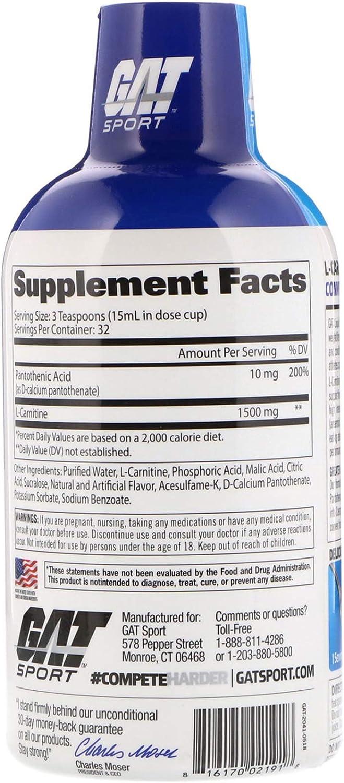 GAT L-Carnitine, Amino Acid, Rainbow Burst, 1,500 mg, 16 oz (473 ml): Health & Personal Care