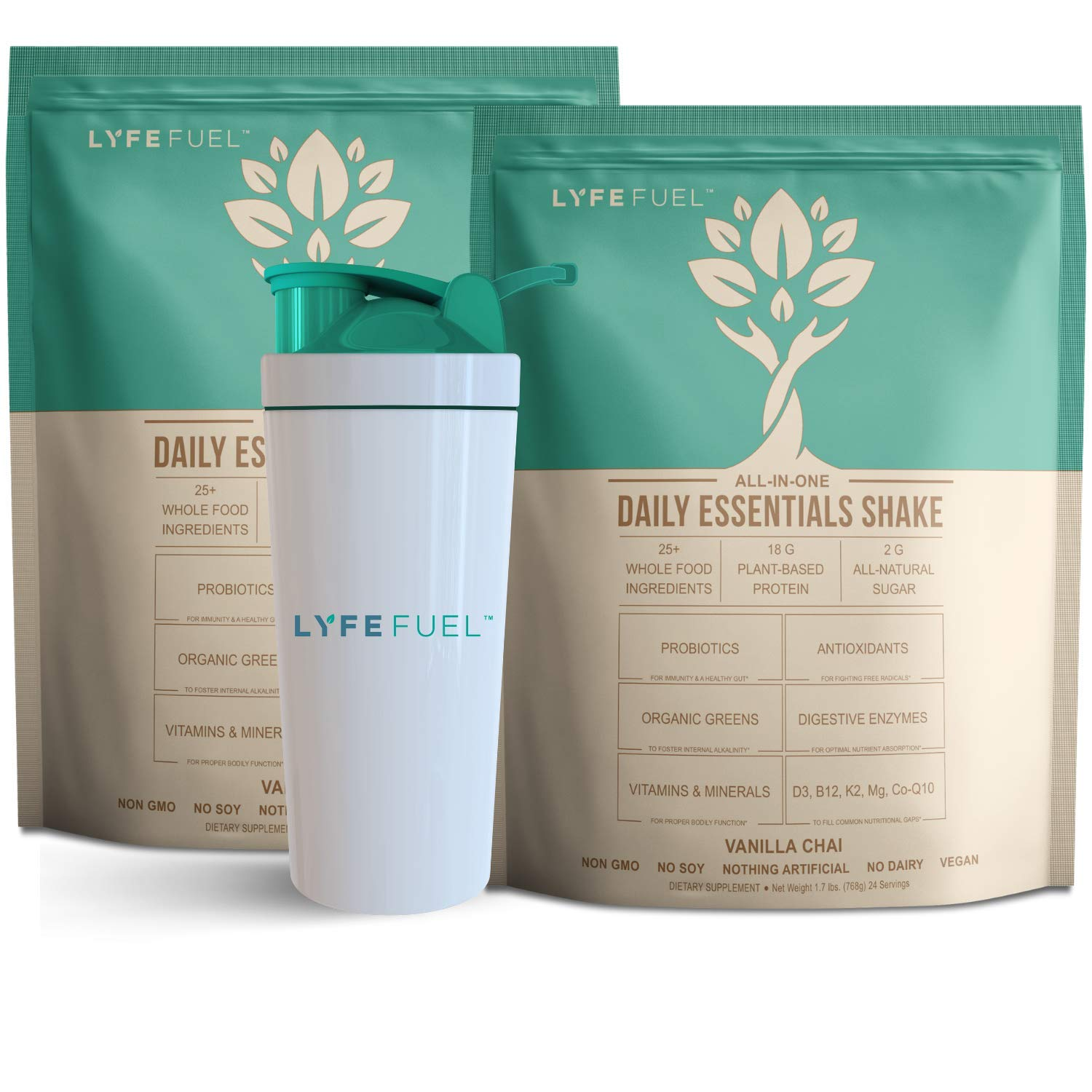 LYFE FUEL Transformation Bundle - Meal Replacement Shakes for Optimal Nutrition - Support a Whole Food Plant-Based Diet & Weight Loss - Vegan, Keto, Low Carb, Soy Free (2 Bags Vanilla Chai, 48 Meals) by LYFE Fuel
