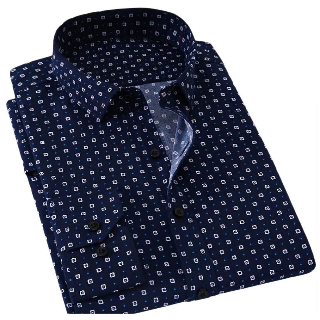 YUNY Mens Vogue Slim Buttoned Thin Floral Print Long Sleeve Shirt 2 2XL