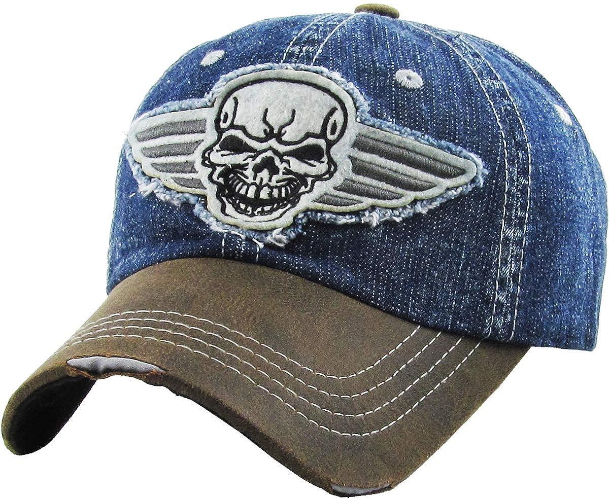 ee15e2a6de7 KBVT-609 BDM Fashion Vintage Baseball Cap Distressed Washed Dad Hat  Adjustable at Amazon Men s Clothing store