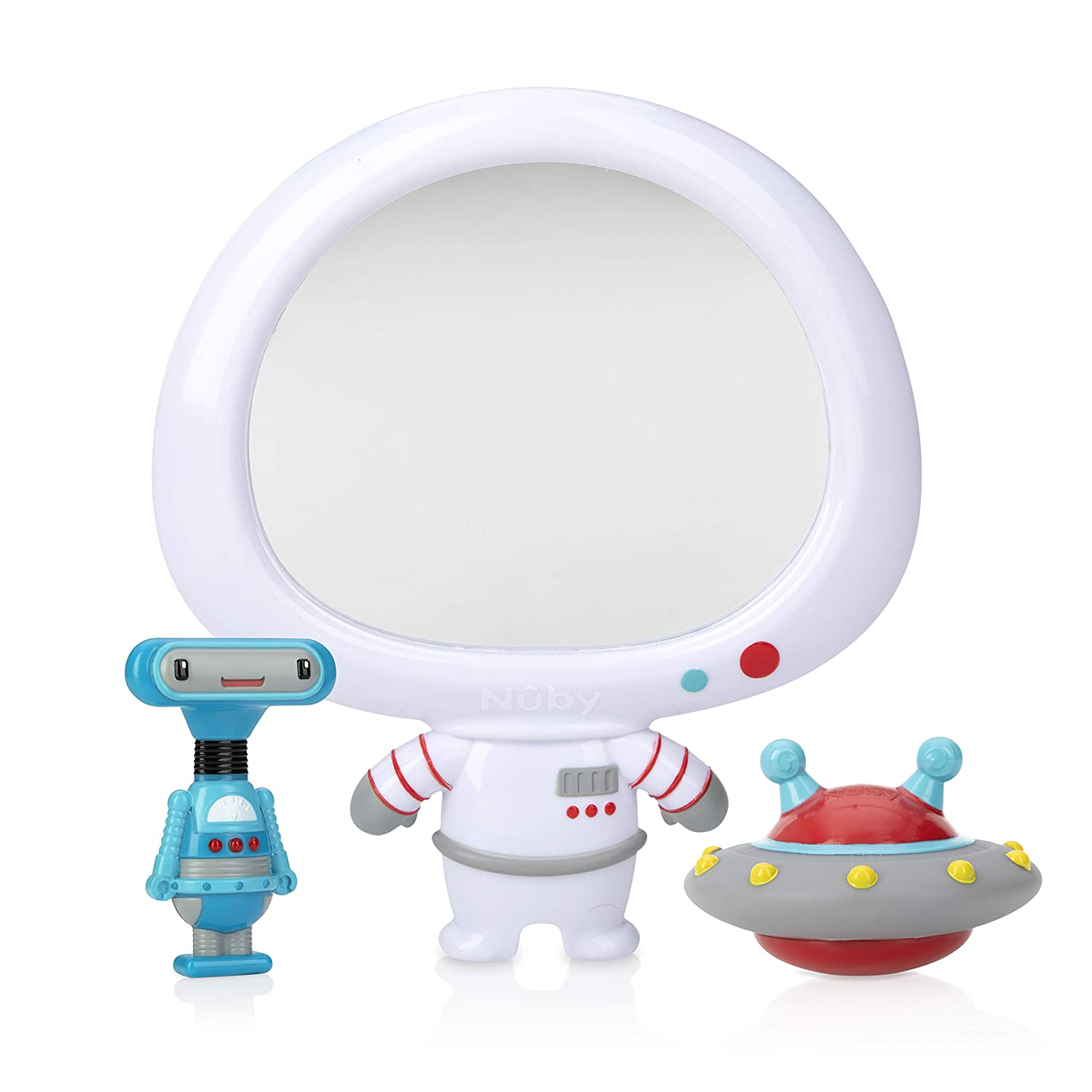 Nuby Awesome Astronaut Mirror 3Piece Interactive Baby Bath Toy Set for Fun Bath Time (6249CS2-8)