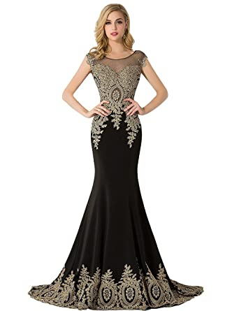Amazon.com: MisShow Women\'s Mermaid Prom Dresses 2018 Applique ...