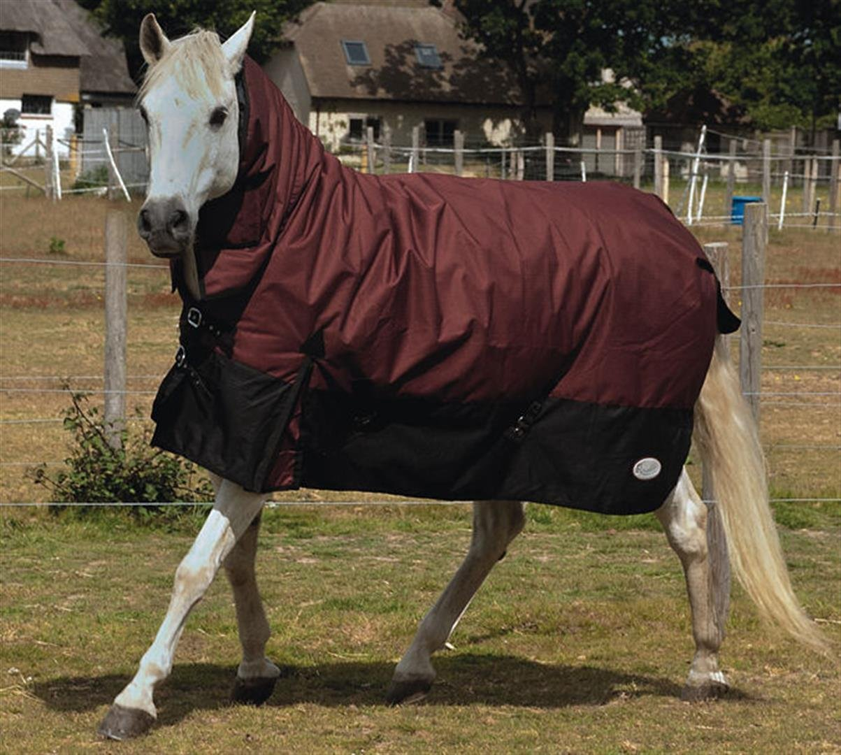 Burgundy Black 6'9\ Burgundy Black 6'9\ Rhinegold Arizona Combo Fixed Neck 100g Medium Lightweight Turnout Rug