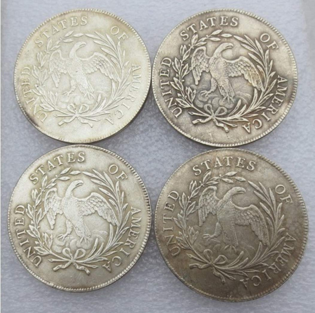 Rare Antique USA United States Full Set 1795-1798 4Pcs Flowing Hair Liberty Silver Color Dollar Coin by Bespoke Souvenirs (Image #2)