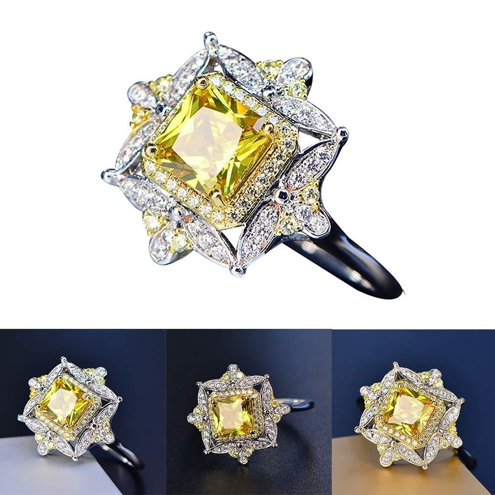 Powerfulline Exquisite Elegant Square Shape Princess Yellow Rhinestone Ring Wedding Engagement Jewelry