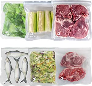 Viturio Reusable Food Storage Bags – 6 Large Leakproof Ziplock Bags are Airtight and Recyclable, Made of Food-Grade Extra-Thick PEVA Plastic – Freezer Safe Zip Top Containers for Lunchbox and Travel