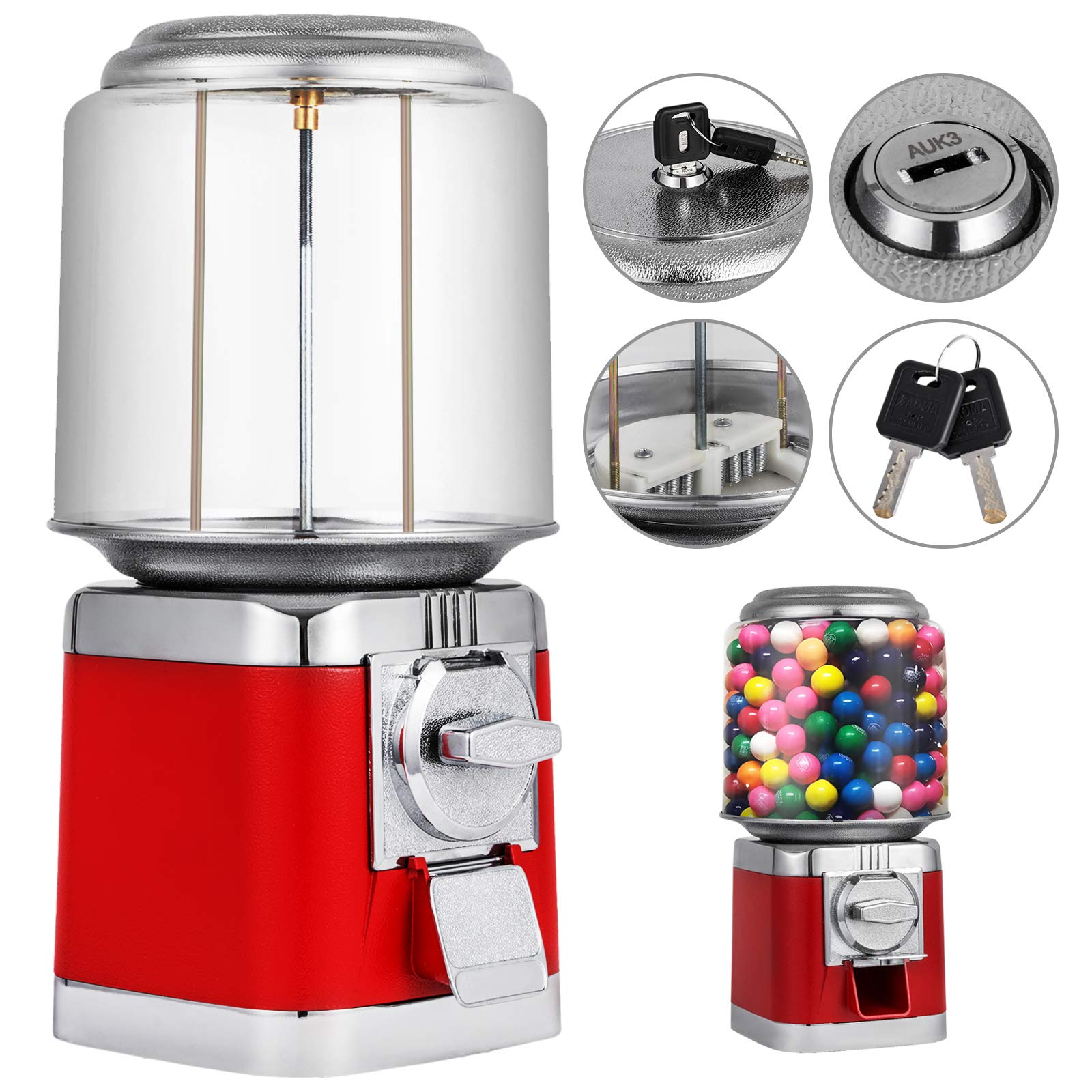 Mophorn Gumball Candy Vending Machine Durable Metal Body Removable Canisters Capsule Bouncy Ball Gumball Vending Dispenser Machine by Mophorn