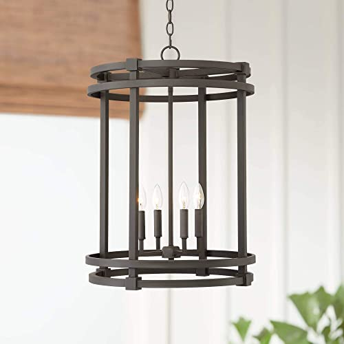 "Caffrey Bronze Cage Foyer Pendant Chandelier 18 1/4"" Wide Farmhouse 4-Light Fixture"