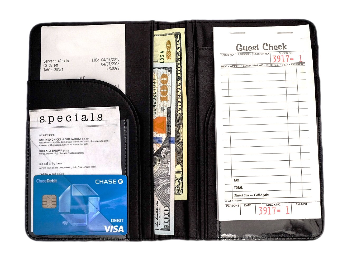 Serve-Pro Server Book - Premium Waitress Book - Server Book For Waiter Waitress Waitstaff - Waiter Bartender Organizer Wallet - Holds Guest Check and Tip Money - Detachable Order Note Pad Included