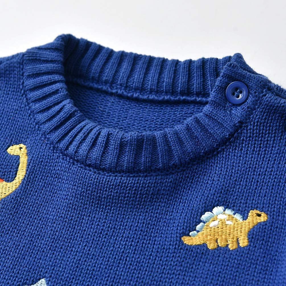 LAUSONS Boys Dinosaur Jumper Baby Boy Knitted Winter Jumpers