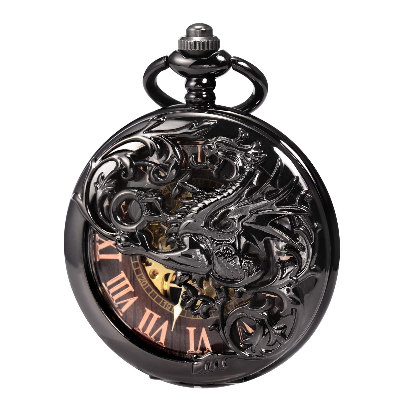 Treeweto Antique Dragon Mechanical Skeleton Pocket Watch with Chain by TREEWETO