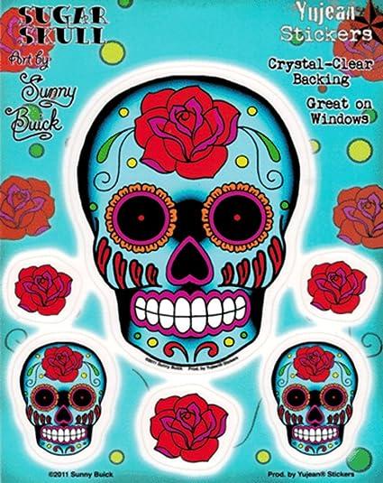 Sunny buick rose sugar skull sticker decal