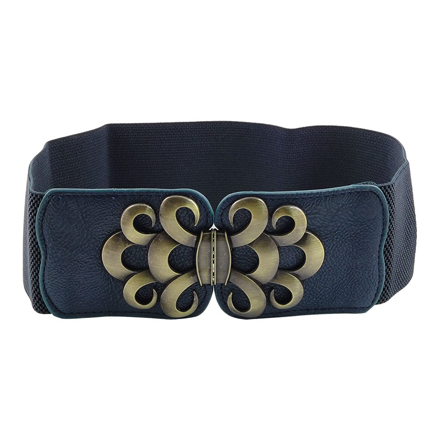 Wave Design Interlocking Buckle Elastic Waist Belt Navy Blue for Women