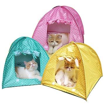 Tienda de campaña plegable para mascotas, perros, gatos, para camping, casa, cama, duradera, con lunares, para exteriores, para viajes: Amazon.es: Productos ...