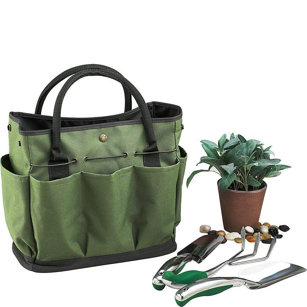 Garden Tote Bag, Gfuny Gardening Tool Kit Storage Holder Oxford Bag Home Organizer Tote Lawn Yard Bag Carrie With 8 Pocket (tools not included)- Dark Green URANNY yh