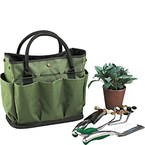Garden Tote, Gfuny Garden Tote Bag with Pockets (8 Pockets), Garden Tote Large Organizer Bag with Side Pockets & Handles (Tools Not Included - Dark Green)