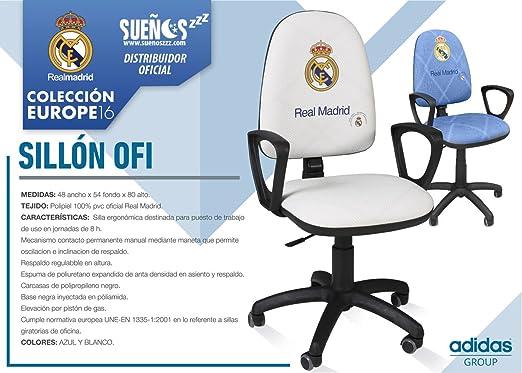 SUENOSZZZ - Real Madrid - Producto Oficial/Sillón Escritorio Azul - 48x54x80: Amazon.es: Hogar
