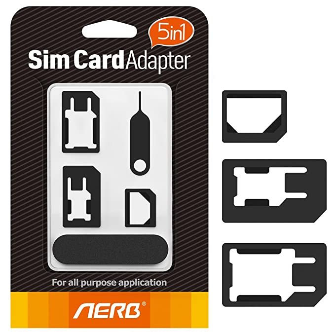 Aerb 5in1 Nano Micro Sim Card Adapter Kit with Sander Bar and Tray Open  Needle