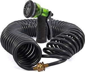 YESTAR Coil Garden Hose,50 Feet Garden Hose Retractable with Spray Nozzle,Corrosion Resistant 3/4 Inch Solid Brass Connectors ,Heavy-Duty EVA Recoil Garden Hose for Lawn,yard