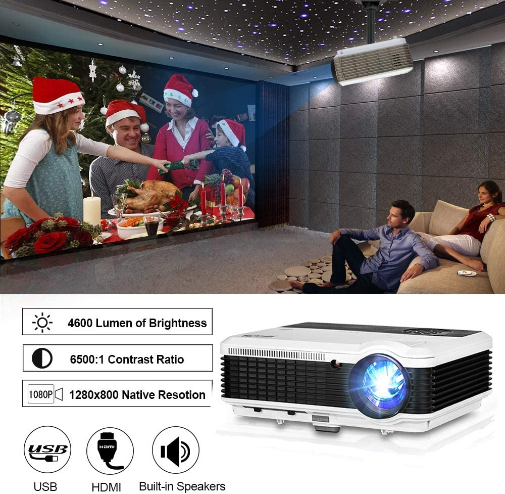 """Projector EUG Video Projector 4600lm Full HD Supported LCD TFT Max 200"""" HDMI Digital LED Proyector for Gaming Outdoor Movie Built-in Speaker Zoom Keystone, Ceiling Mounted Movie Projectors"""
