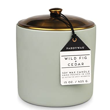 Paddywax Candles Hygge Collection Scented Soy Wax Blend Candle, 15-Ounce, Wild Fig + Cedar
