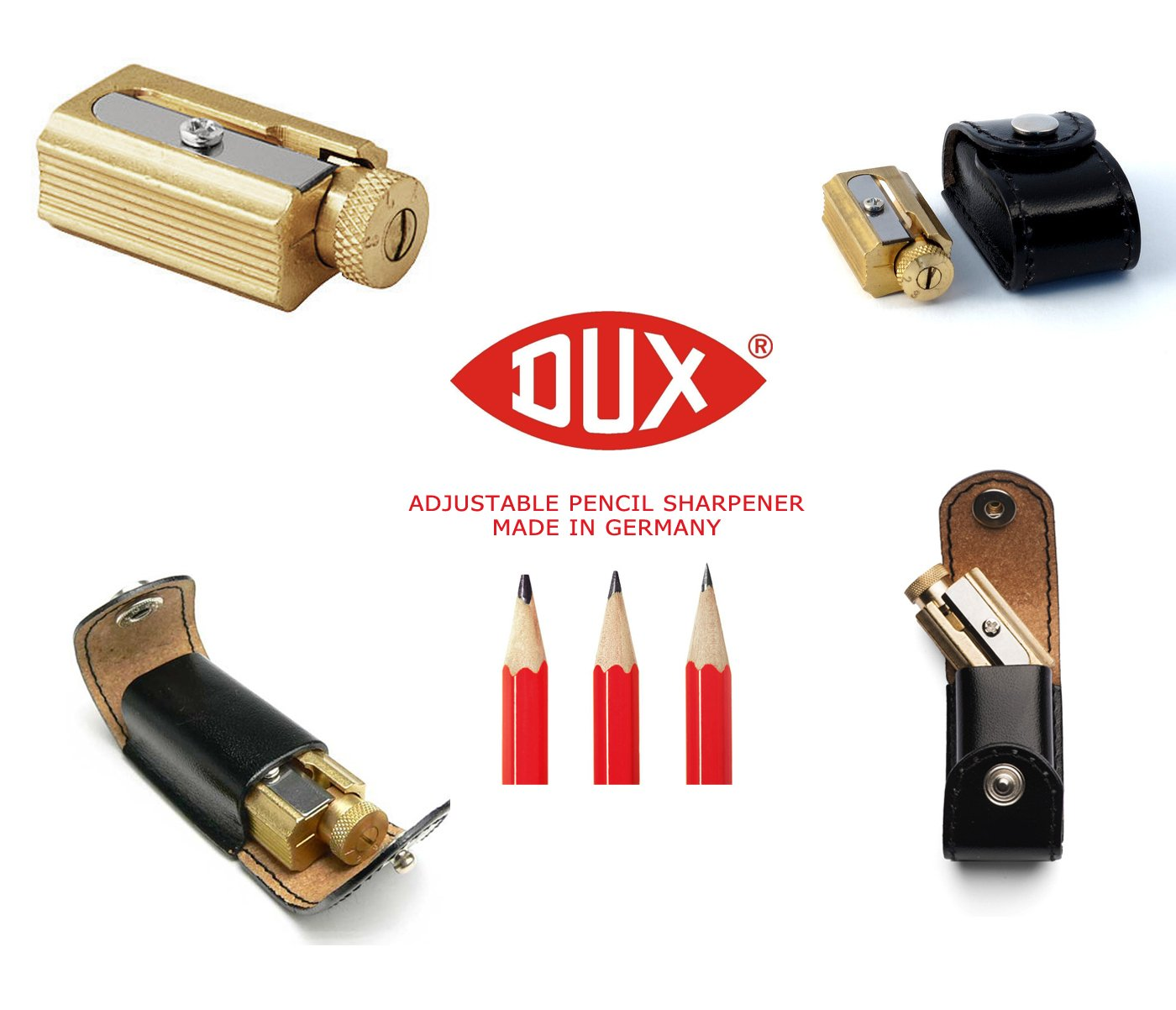 Legendary DUX Adjustable Pencil Sharpener - brass in a genuine leather case - Made in Germany by DUX