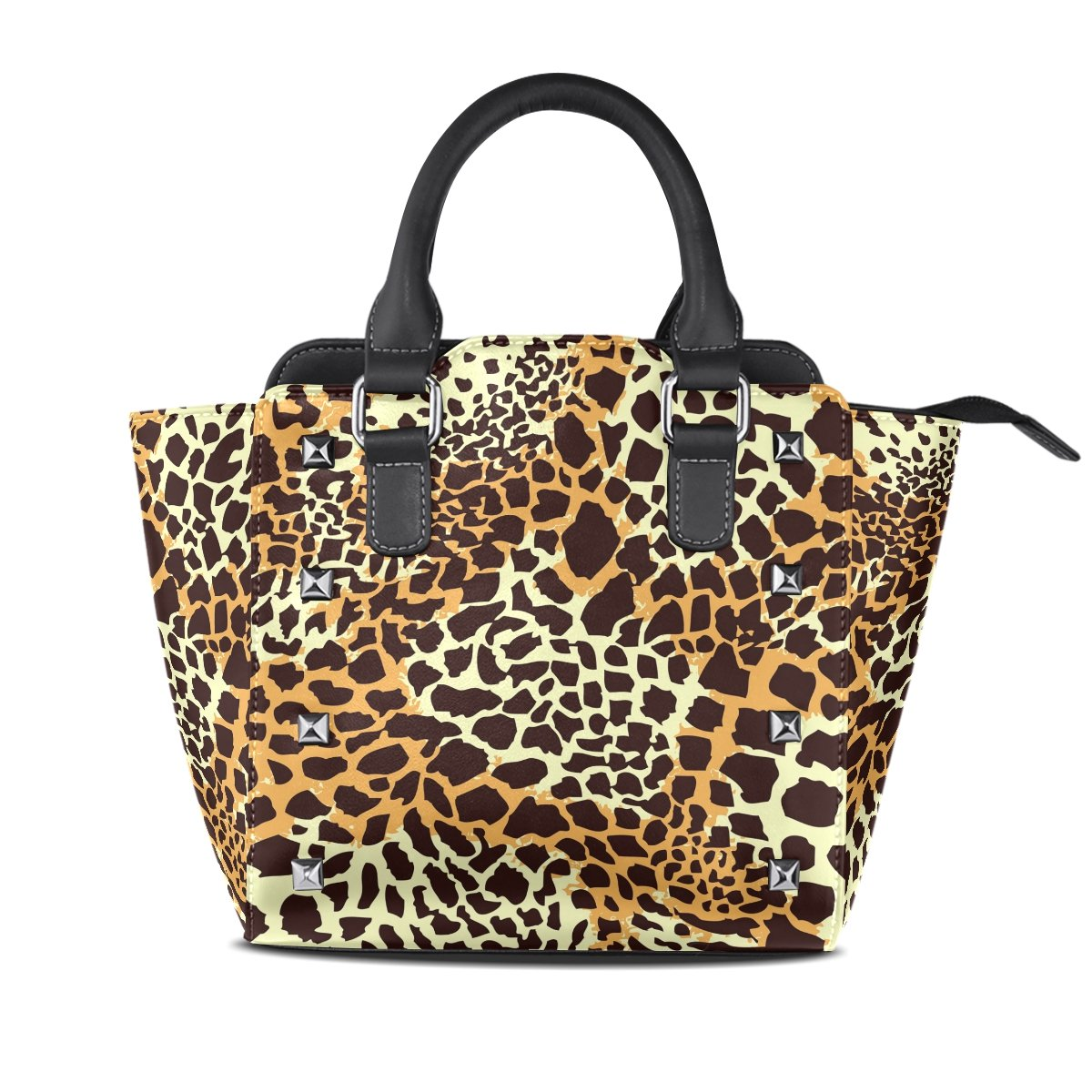 Womens Genuine Leather Hangbags Tote Bags Leopard Print Purse Shoulder Bags