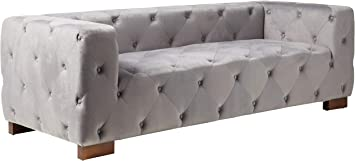 Amazon Com Container Furniture Direct Ossett Tufted Velvet Upholstered Modern Chesterfield Sofa 87 4 Grey Furniture Decor