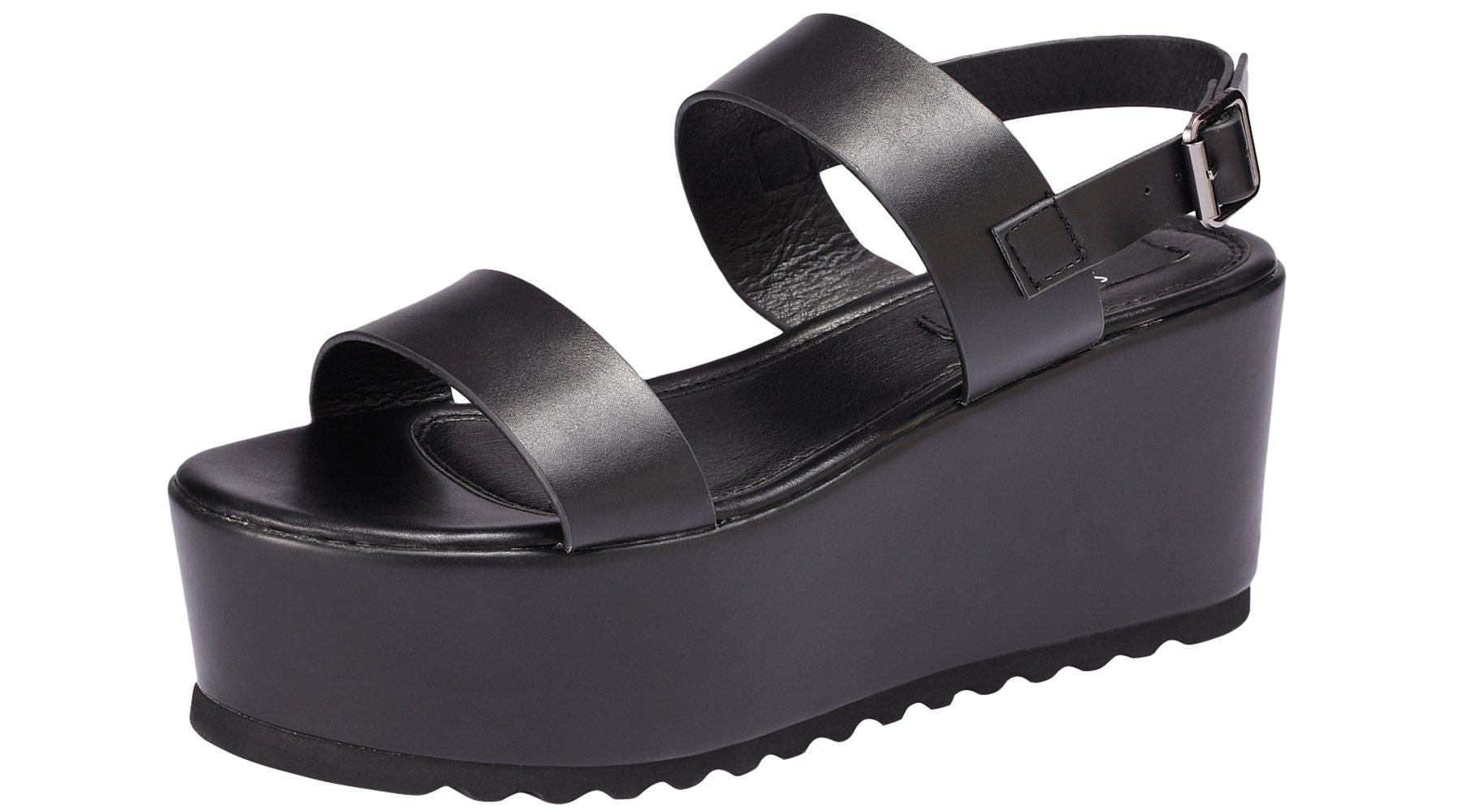 Sofree Women's Platform Open Toe Ankle Strap Heeled Wedge Platform Sandal (8, Black)