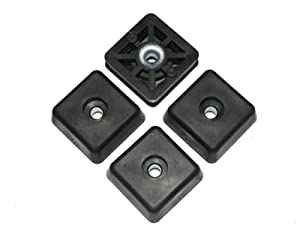 4 Large Square Rubber Feet Foot Bumpers - .590 H X 1.500 W - Made in USA - Heavy Duty Non Marking for Furniture,Tables, Chairs, Desk