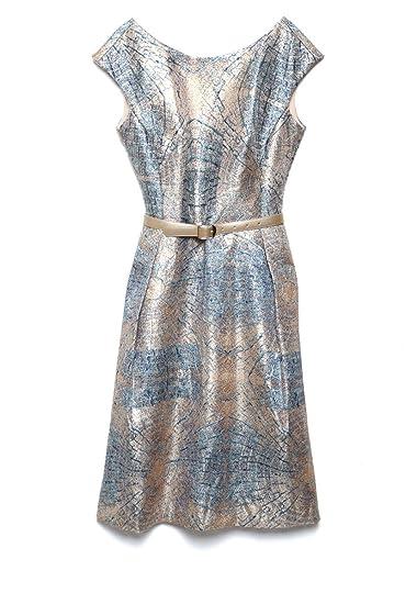 Karen Kein Vestido Metálico Azul Vestido Para Mujer Azul
