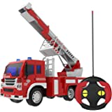 Remote Control Fire Truck RC Rescue Fire Fighting Truck Vehicle Learning Educational Toys 1:16 Simulation with Light and Music 6 Wheels Batteries Included Red and White