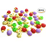 IFfree 40pcs Stationery Gift Turtle Erasers For Your Kids Students Stationery Prizes.Colors Random.