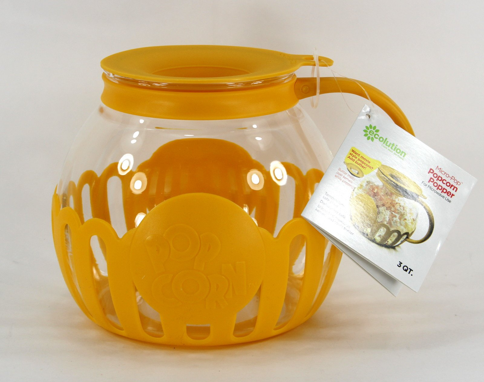 Ecolution Micro-Pop Microwave Popcorn Popper 3QT - Temperature Safe Glass w/Multi Purpose Lid (Large, Yellow)