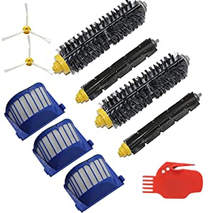 EcoMaid Accessories For Filters Bristle Brush Beater Brush Side Brush Cleaning tool Part kit for iRobot Roomba 585 595 600 620 650 Series Robotic Vacuums Cleaner Replenishment