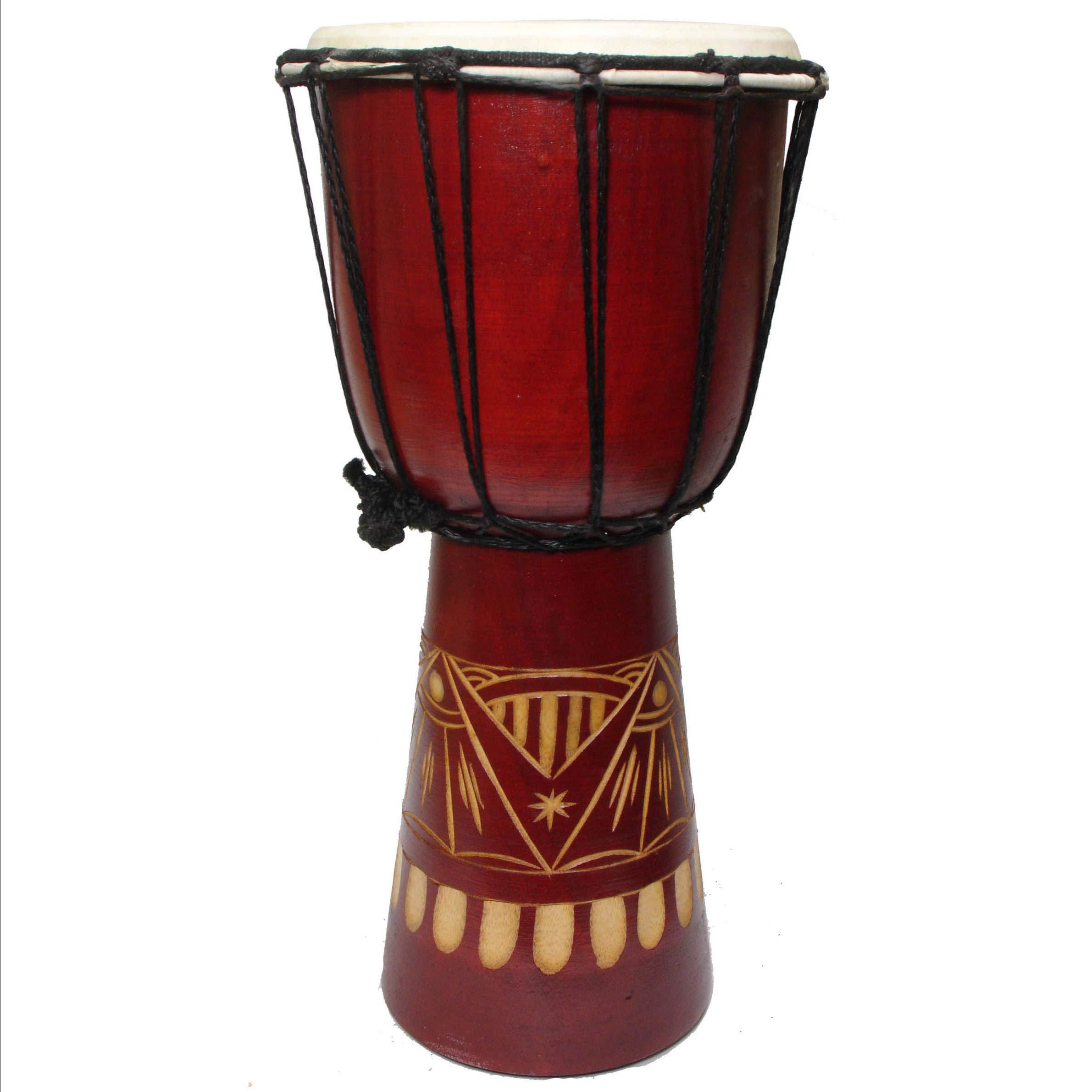 Handmade Abstract Natural Djembe Drum (Indonesia) by Aromzen