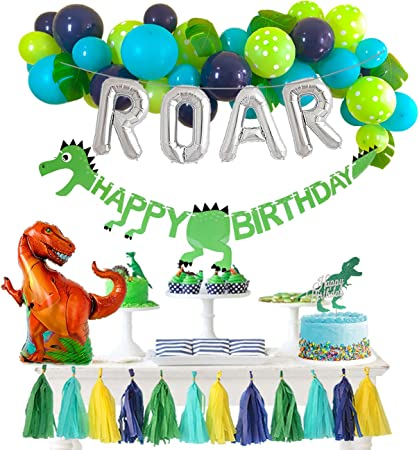 Dinosaur Balloon Garland Kit for Boys Girls Rawr Balloon Arch Dinosaur 1st 2nd 3rd Birthday Party Decorations Supplies Dino Happy Birthday Banner T-Rex Balloons