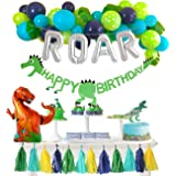 Dinosaur Party Decorations Balloons Garland Kit with Silver ROAR Foil Balloon and Cute Jungle Theme Tassels for Boys 1 2…
