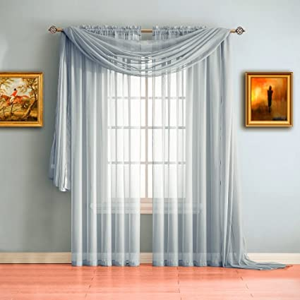 Warm Home Designs Pair Of Standard Length Light Silver Sheer Window Curtains.  Each Voile Drape