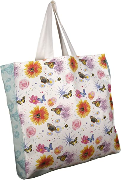 Lona de algodón bolsa flores las abejas y mariposas diseño pintado ...