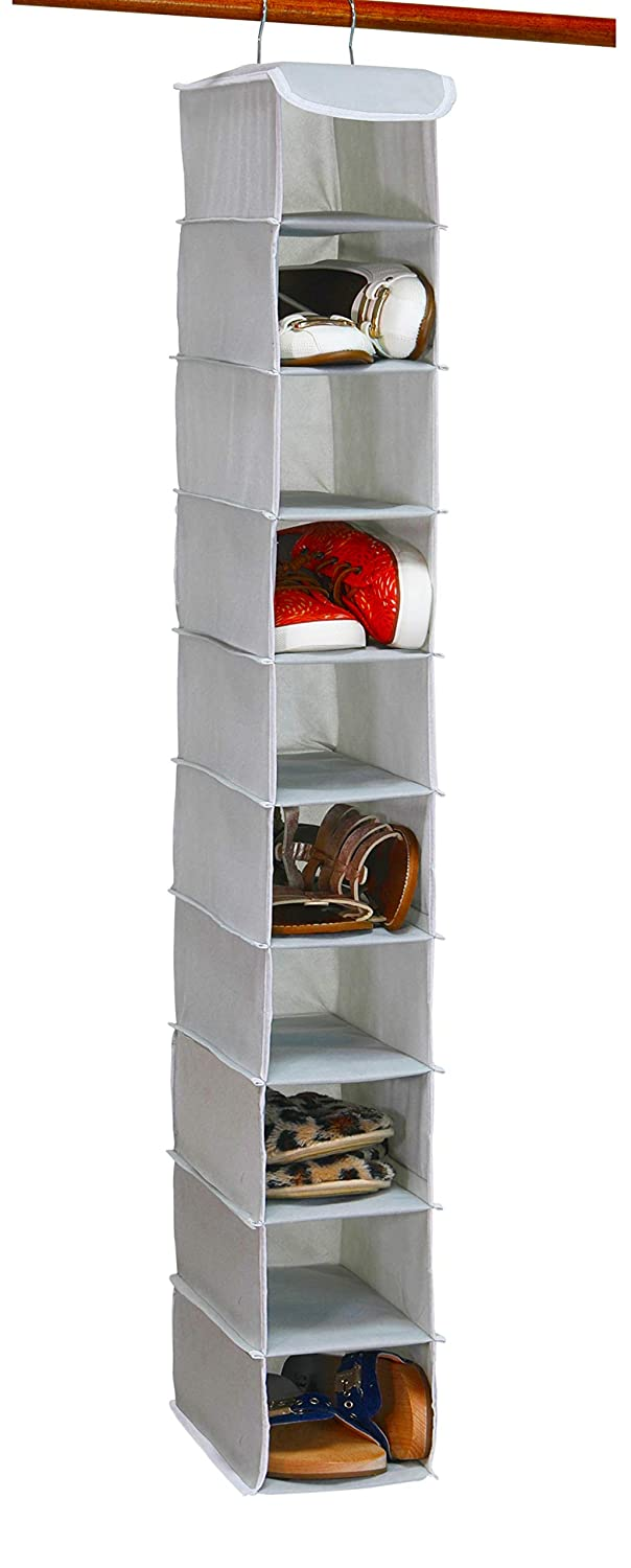 Simple Houseware 10 Shelves Hanging Shoes Organizer Holder for Closet w/ 10 Pockets, Grey