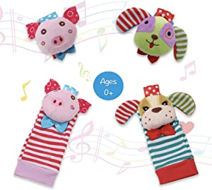 Baby Animal Wrist and Foot Rattles Finder Socks Set for Toddlers Development Soft Animal Toy for 0-24 Months