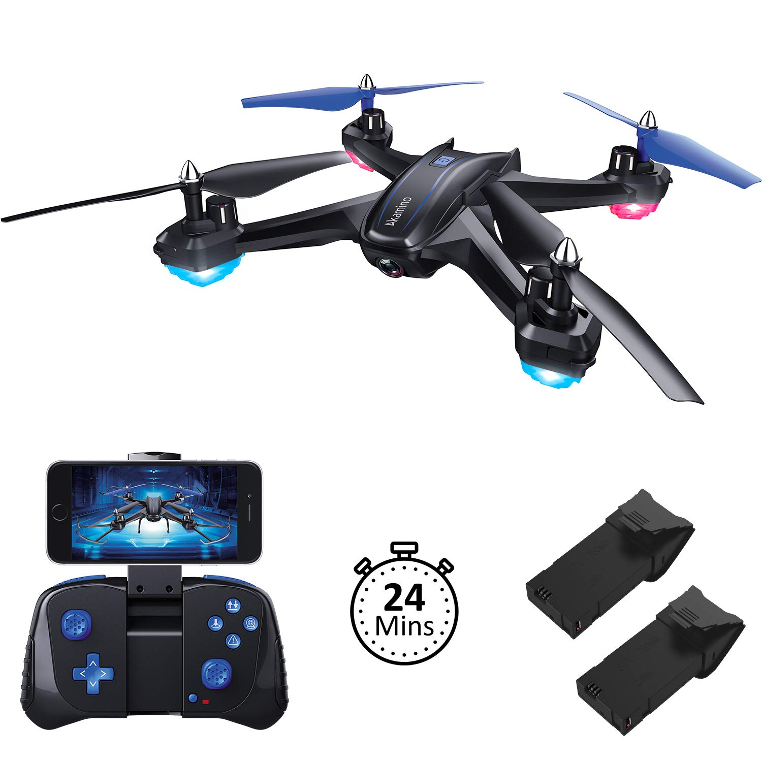 Akamino S6 WiFi FPV Drone, RC Quadcopter with 120° FOV 720P HD Camera for Adult, Portable Aircraft Toy for Beginners with Trajectory Flight, Gravity Sensor, 3D Flip, APP Control by Akamino