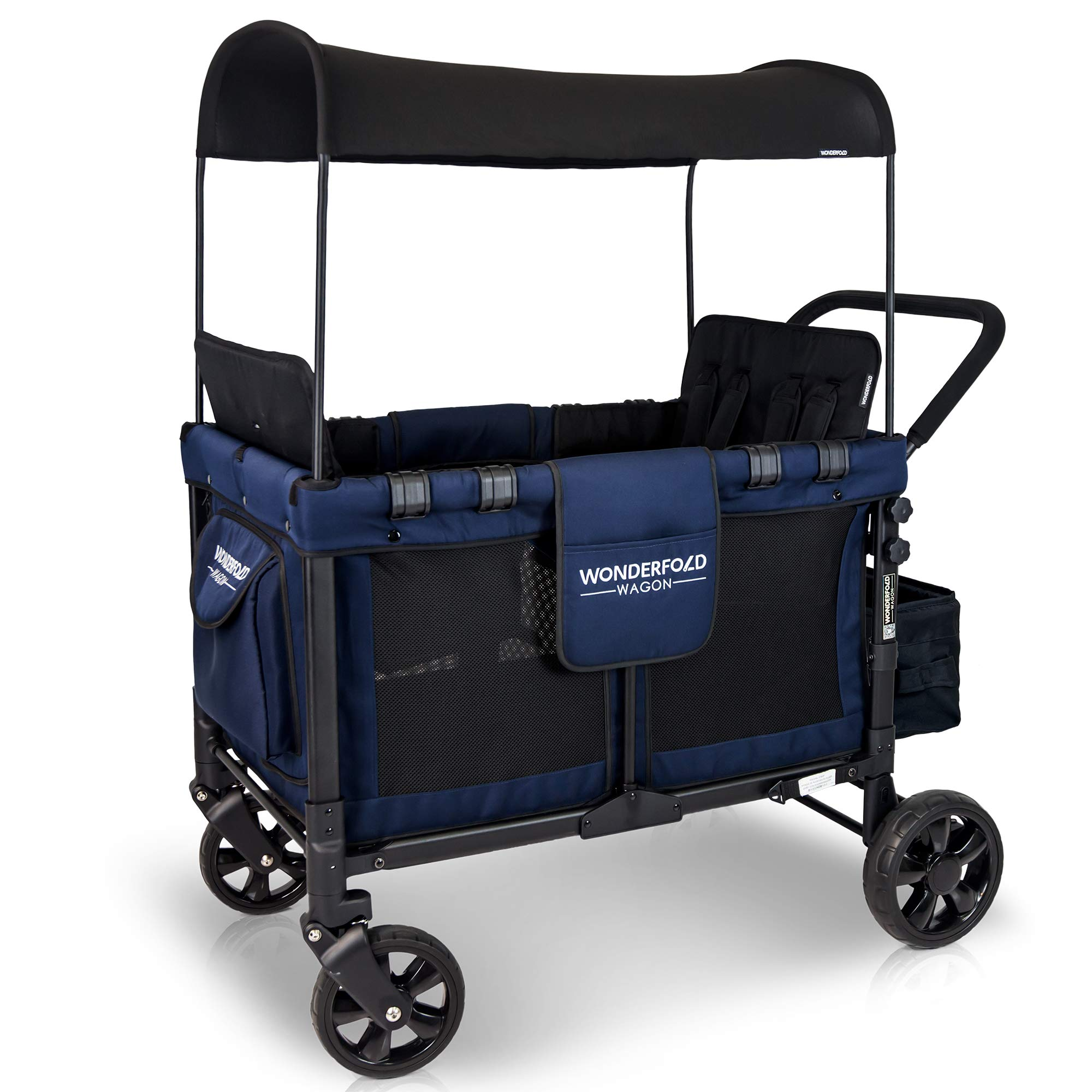 WONDERFOLD W4 4 Seater Multi-Function Quad Stroller Wagon with Removable Raised Seats and Slidable Canopy, Navy