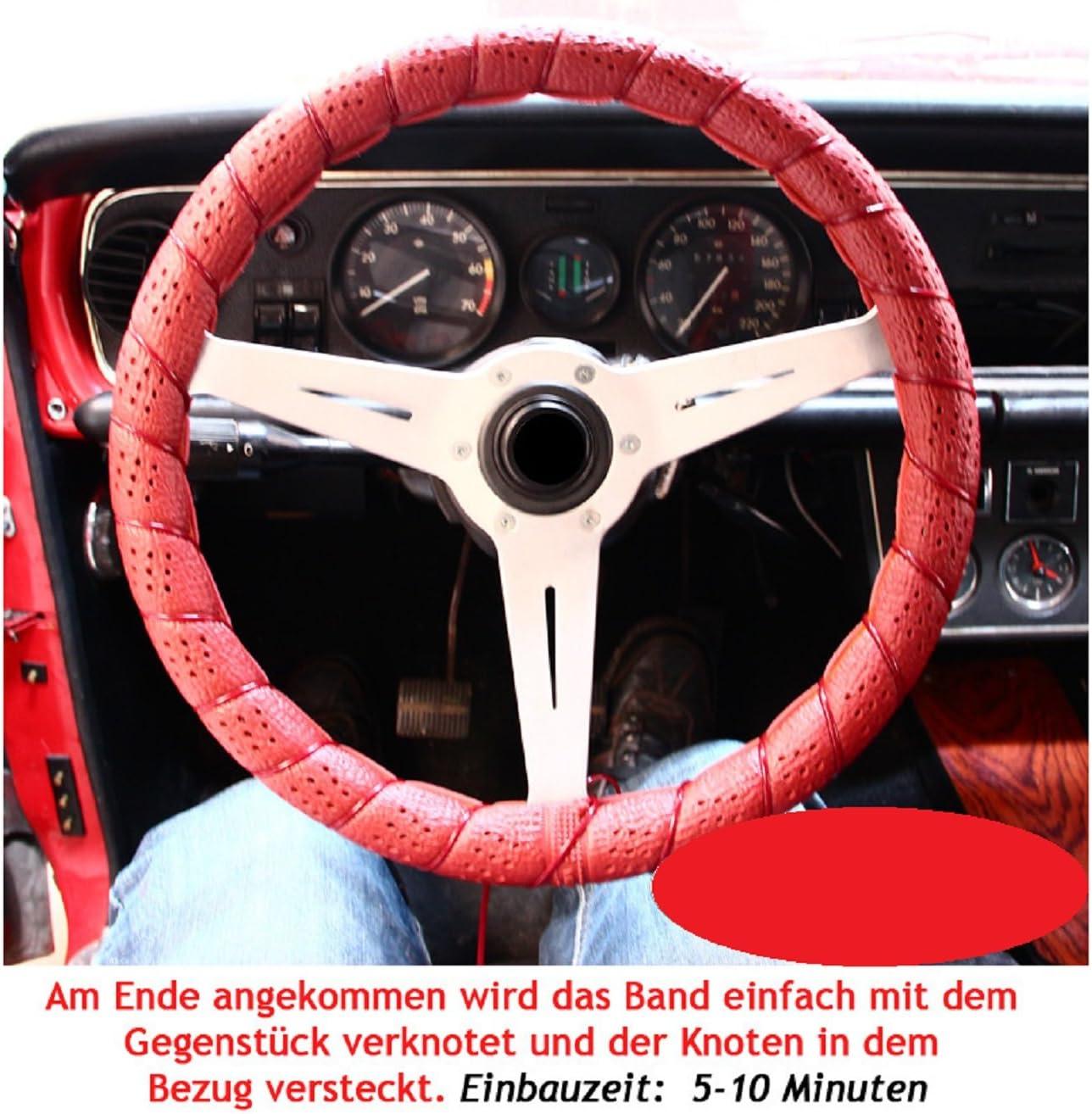 2 X Lenkradbezug Lenkradschoner Zum Selber Schnüren Schwarz Auto