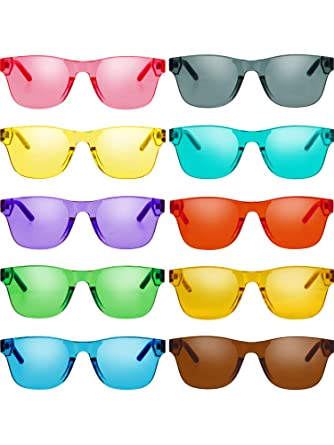 a04a045b2ebd Amazon.com: Gejoy One Piece Rimless Tinted Sunglasses Eyewear Transparent  Candy Color Glasses (Color A, 10 Pairs): Clothing