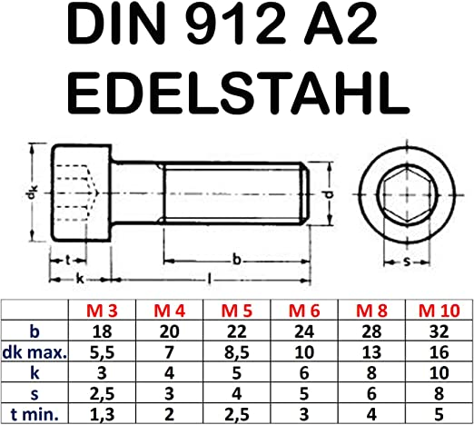 Innensechskantschrauben Zylinderkopf 10 Stück DIN 912 A4 M6X10 Edelstahl V4A