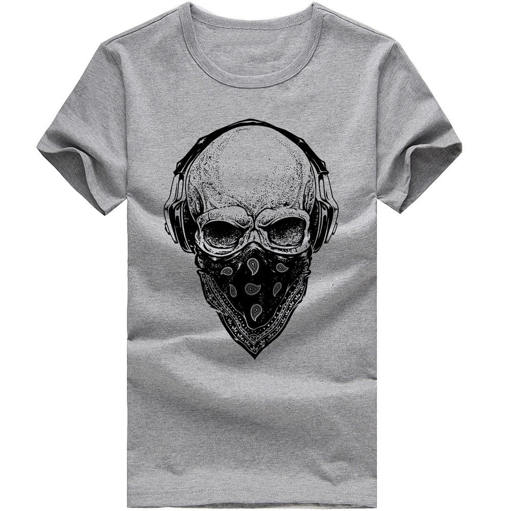 MISYAA Skull Music T Shirts for Men, Muscle Tee Shirt Short Sleeve Sweatshirt Art Tank Top Yuppies Pals Gift Mens Tops Gray